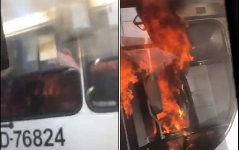 Vídeo: Ônibus urbano pega fogo no conjunto Satélite na cidade de Belém