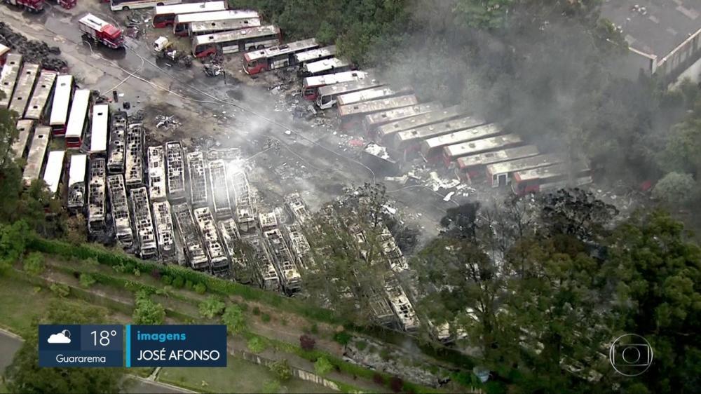 São Paulo: Incêndio atinge mais de 40 ônibus na Zona Leste da cidade