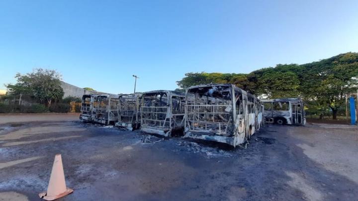 PR: Polícia Civil diz que incêndio na garagem de ônibus na região de Maringá foi criminoso