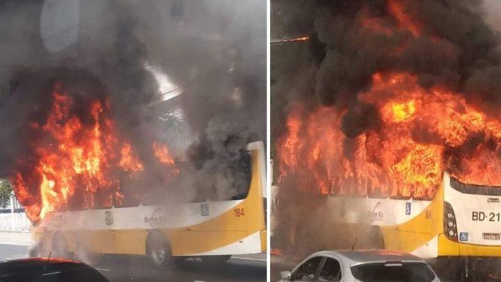 Vídeo: Ônibus pega fogo na Avenida Almirante Barroso nesta tarde em Belém