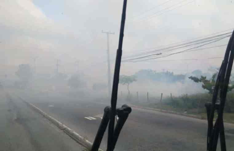Rio: Incêndio em vegetação próximo ao BRT Mato Alto causa baixa visibilidade no trânsito