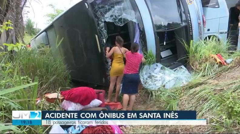MA: Ônibus da Trans Brasil tomba na BR-222 em Santa Inês deixando vários feridos