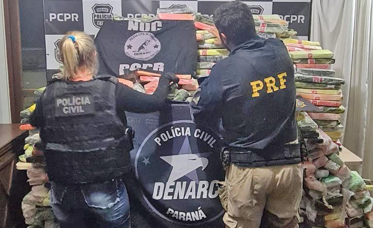 PR: Polícia Rodoviária apreende mais de uma tonelada de entorpecente durante fiscalização em ônibus na BR-277