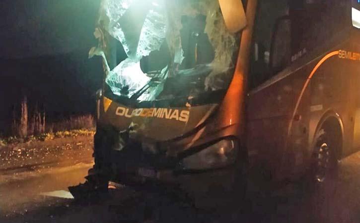 MG: Acidente entre ônibus e carreta deixa cinco feridos em Juiz de Fora