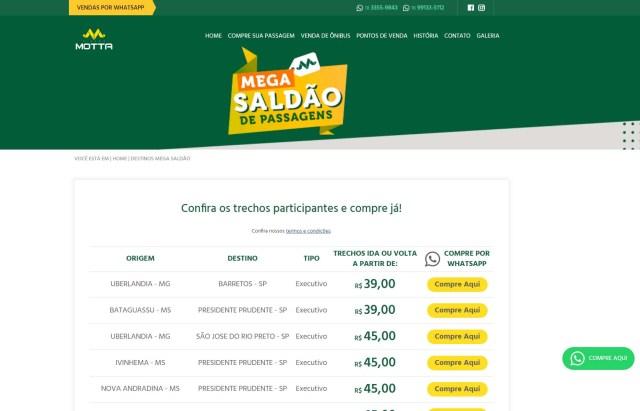 Motta disponibiliza Mega Saldão de Passagens pelo Whatsapp com tarifas a partir de R$ 39 - revistadoonibus