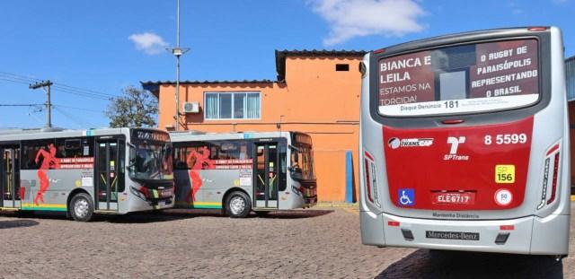 São Paulo adesiva ônibus em homenagem a atletas olímpicas moradoras de Paraisópolis - revistadoonibus