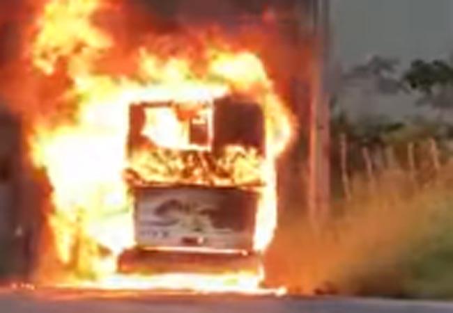 Vídeo: Ônibus rodoviário pega fogo na rodovia AL-105, em Matriz de Camaragibe - revistadoonibus