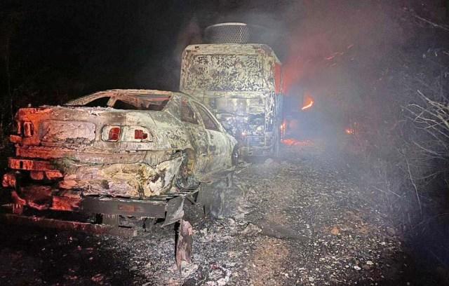 PI: Ônibus rodoviário e carro são destruídos durante incêndio na BR-316 em Ipiranga - revistadoonibus