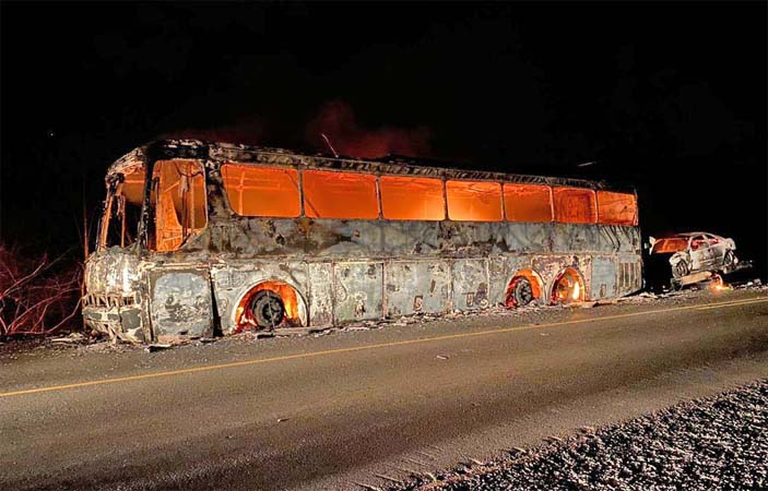 PI: Ônibus rodoviário e carro são destruídos durante incêndio na BR-316 em Ipiranga do Piauí