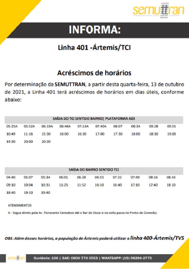 SP: Piracicaba anuncia aumento de horários na Linha 401 Artemis/TCI - revistadoonibus