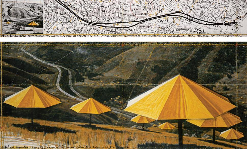 """Christo The Umbrellas (Joint Project for Japan and USA) Drawing 1988 in two parts Pencil, pastel, charcoal, photograph by Wolfgang Volz, wax crayon, enamel paint and topographic map 15 x 96"""" and 42 x 96"""" (38 x 244 cm and 106.6 x 244 cm) © 1988 Christo"""
