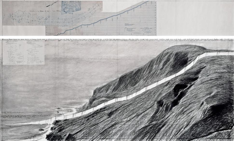 Christo Running Fence (Project for Marin County and Sonoma County, State of California) Drawing 1976 in two parts Smithsonian American Art Museum, Washington, D.C., USA (Part of the Running Fence Documentation Exhibition) Photo: André Grossmann © 1976 Christo