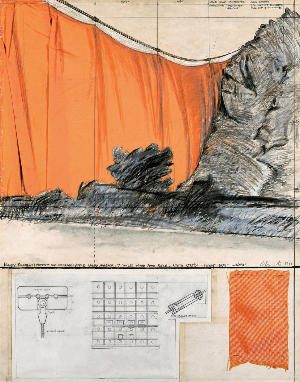 """Christo Valley Curtain (Project for Colorado) Collage 1971 Pencil, fabric, wax crayon, hand-drawn technical data, fabric sample, tape and staples 28 x 22"""" (71 x 56 cm) Photo: Shunk-Kender © 1971 Christo"""