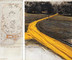 """Christo Wrapped Walk Ways (Project for Loose Park, Kansas City, Missouri) Collage 1978 Pencil, charcoal, pastel, fabric, photograph by Wolfgang Volz, wax crayon and map 28 x 11"""" and 28 x 22"""" (71 x 28 cm and 71 x 56 cm) Photo: Wolfgang Volz © 1978 Christo"""