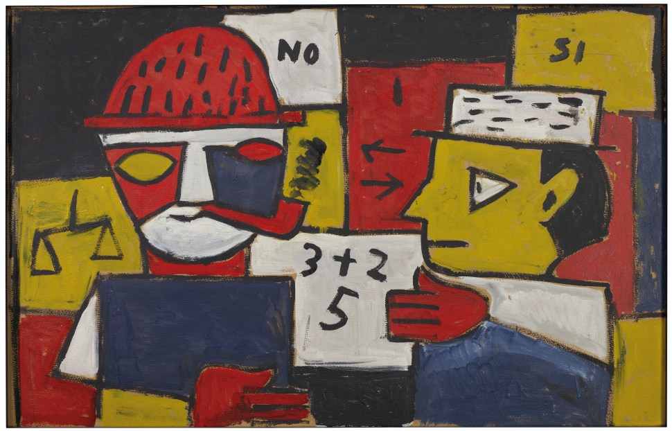 Joaquín Torres García. Constructivo a cinco tonos con dos figuras discutiendo. 1946