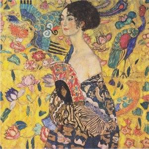 Gustav Klimt - Woman with fan 1917-18. Inconclusa.