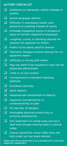 Autism checklist - Autism Society