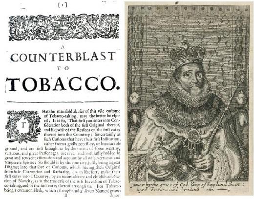 Primeira página do manifesto original A Counterblast to Tobacco e gravura do seu autor, o Rei Jaime I Stuart.