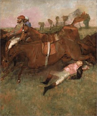 """Scène de la course d'obstacles : Le jockey tombé (""""Cena de uma corrida de obstáculos: a queda do jóquei"""", Degas, 1866) (11)"""
