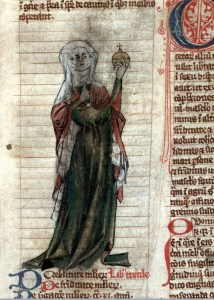 Trota de Salerno (Fonte: http://upload.wikimedia.org/wikipedia/commons/e/ec/Trotula_of_Salerno_Miscellanea_medica_XVIII_Early_14th_Century.jpg)