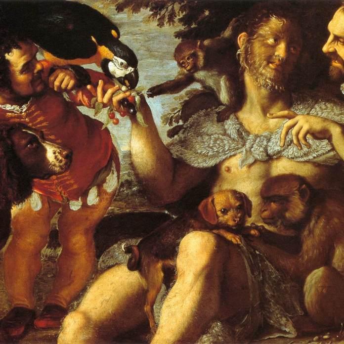 Enrico Gonsalvus, o filho mais velho dos Gonsalvus, no  Il Triplo Ritratto (Arrigo peloso, Pietro matto e Amon nano), de Agostino Carracci (circa 1598).