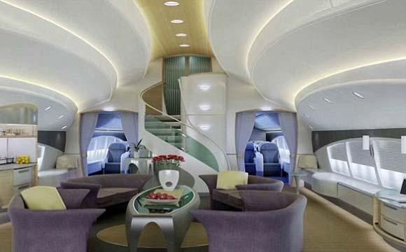 Uma das salas de estar da aeronave