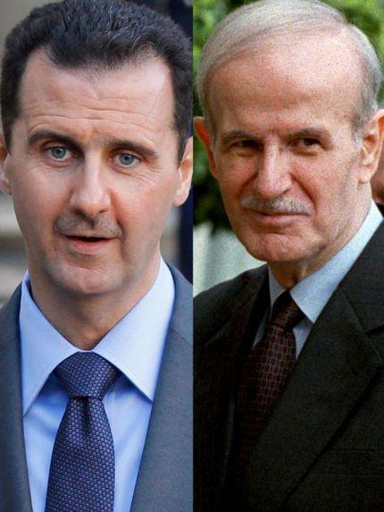 Bashar al-Assad (filho e atual presidente sírio) e Hafez al-Assad (pai) Crédito: ABC News.