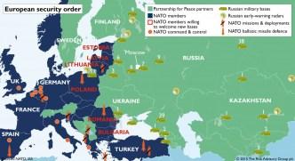 A OTAN, que deveria ter sido extinta com o as forças do Pacto de Varsóvia chegam à fronteira russa, visando novamente cercar e isolar o país. Crédito: Zero Hedge.