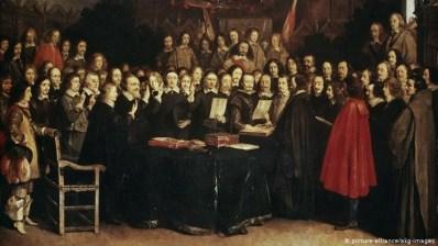 Pintura sobre o acordo de Paz de Westfália de 1648. Crédito: https://www.dw.com