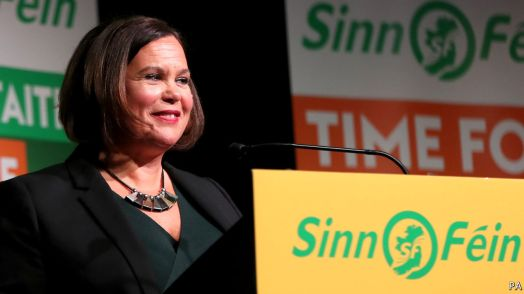 Mary Lou McDonald liderança do Sienn Féin. Crédito: The Economist.