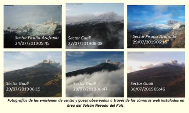 Servicio Geológico reporta emisiones de gases y ceniza en el Volcán Nevado del Ruiz