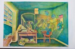 José Nava, Retrato en espejo con planta grande