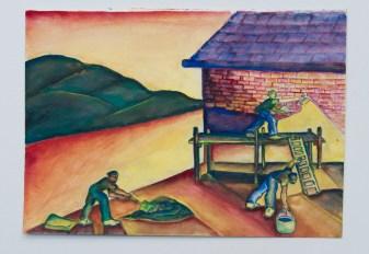 José Nava, Dos hombres construyendo una casa