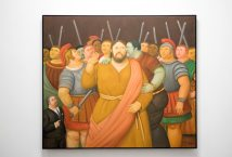 Fernando Botero, El beso de Judas, 2010, collection Museo de Antioquia, Medellin, Colombie, huile sur toile, 140 x 161 x 3 cm © F. Botero ; photogr. Sylvie Leonard / les Abattoirs. ©AnnéeFranceColombieT Chapotot 2017