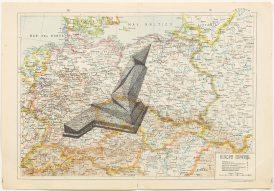 Gonzalo Elvira, WMMD, 2017, Tinta sobre mapa, 34 x 49 cm. Cortesía de Carlos Rodríguez