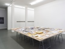 Dora García, EXILE, 2012 – ongoing, documents, books, photographs, maps, and postal material, courtesy the artist and Juana de Aizpuru, Madrid; and Mahmoud Khaled, Do You Have Work Tomorrow?, 2013, silver gelatin prints, courtesy the artist, Witte de With Center for Contemporary Art, 2018, photo by Kristien Daem.