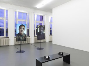 Wu Tsang, Miss Communication and Mr:Re, 2014, two-channel HD color video, sound, 17:00 minutes, courtesy the artist and Galerie Isabella Bortolozzi, Berlin, Witte de With Center for Contemporary Art, 2018, photo by Kristien Daem.