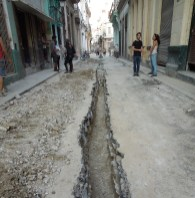 Government drilling of Tejadillo street in Old Havana, next to Tania Bruguera's home and site of her Opening Session of the foundational process of INSTAR Instituto de Activism Hannah Arendt, 2015, photograph: Lucia Hinojosa, originally published by diSONARE and The Brooklyn Rail, to accompany an interview with Bruguera