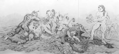 Florencia Rodriguez Giles, Biodelica, 2018. Lápiz sobre papel laminado. 220x450. Obra única. Cortesía de Bendana | Pinel Art contemporain y artista