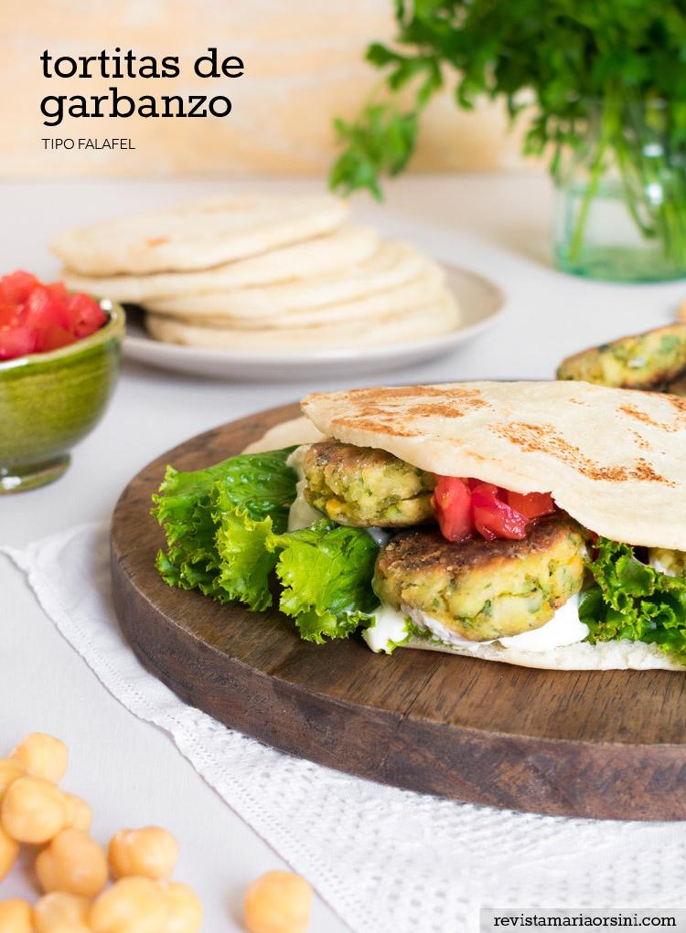 Receta de tortitas de garbanzo tipo falafel en revista Maria Orsini