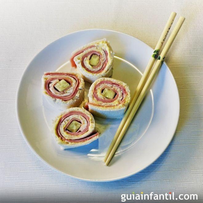 Cocinar con niños en casa, sushi de sandwich.