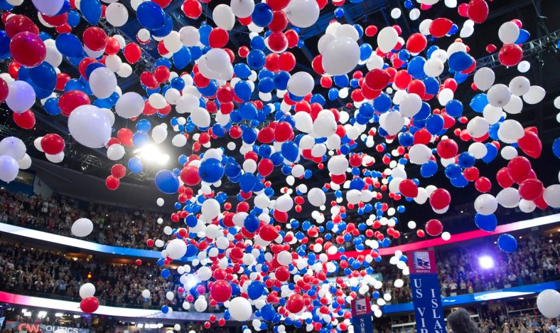 UNITED STATES - AUGUST 30: Balloons drop after GOP presidential candidate Mitt Romney gives his speech at the 2012 Republican National Convention at the Tampa Bay Times Forum. (Photo By Chris Maddaloni/CQ Roll Call)