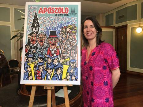 Branca Novoneyra, xunto ao cartel do Apóstolo 2018.