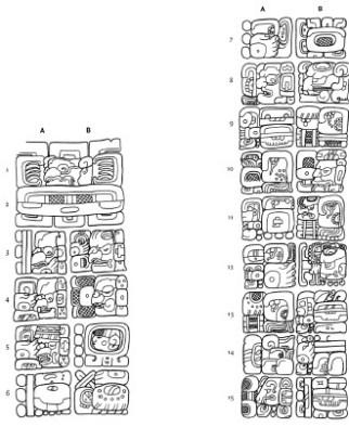 Piña-Investigación-Ethan A. Buendía Sánchez-Figura 4. Lado este de la Estela C de Quiriguá, Guatemala, (dibujo de Mathew Looper).