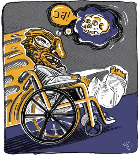 Bayote en silla de ruedas. © Cebolla.