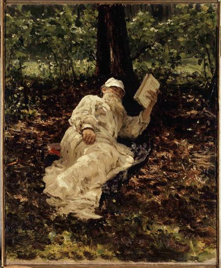 León Tolstói descansando y leyendo en el bosque. Pintura de Ilya Repin, 1891.