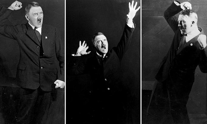 Hitler ensayando poses para sus discursos. Serie de Heinrich Hoffmann.