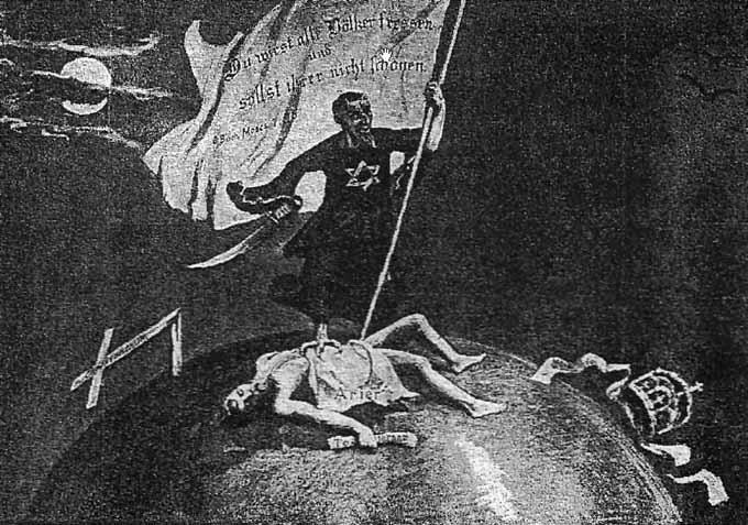 Propaganda alemana de los años veinte que representa al judío como diabólico dueño del mundo.