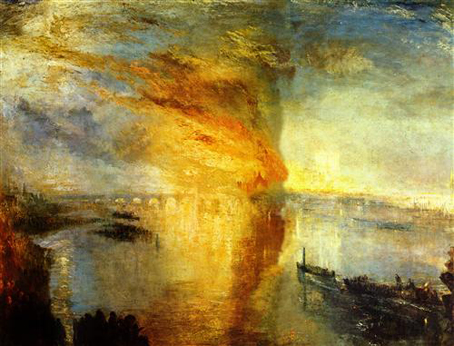 William Turner, El incendio de la Casa del Parlamento, 1835.