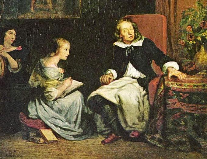 John Milton dictando a sus hijas El paraíso perdido. Eugène Ferdinand Victor Delacroix.